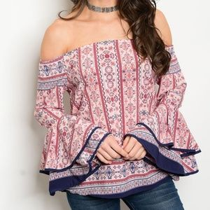Tiered Off the Shoulder Bell Sleeve Boho Top